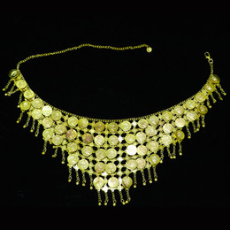 Gold Belly Dance Australia - Gold and Silver Coins belly dance belly chain Waist Chain Ornament Oriental Dancing Metal Coin Hanging Bell