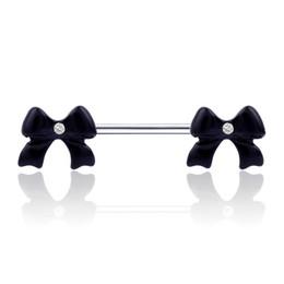 Barbell Black Australia - Black Bow Flower Shape Barbell Belly Button Ring Piercing Nipple Piercing Studs Woman Dance Lip Ear Nose Sexy Body Jewelry