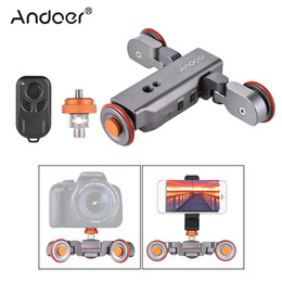 Car Lights Australia - Freeshipping L4 Autodolly 3 Speed w Wireless Remote Control Electric Motorized 3-Wheel Pulley Car Slider Rolling Skater for DSLR Phone
