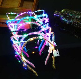 Glows Sticks Australia - 600pcs LED Cat Ear Headband Light Up Party Glowing Girl Flashing Hair Band Concet Cheer Xmas Gifts Environment-friendly plush headband Gift