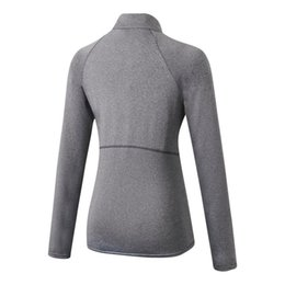 cotton cashmere sweater women UK - Women Autumn Zipper Long Sleeve Sports Fitness Yoga Training Quick-Drying Clothes T-Shirt Sweater Tops Blouse NEW!