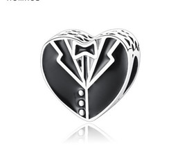 Discount pandora snake chain necklace - Fit Pandora Charm Bracelet European Silver Bead Charms Business tie Black Suit Enamel Beads DIY Snake Chain Fo Women Ban