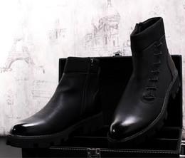 Discount korean cowboy boots leather men - Korean Style Luxury Men Black Martin Boots Fashion Lace Up Side Lace Up Trending Short Ankle Boots Man Platform Booties