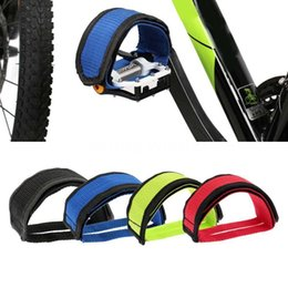 geared bicycle NZ - 1pc Nylon Bicycle Pedal Straps Toe Clip Strap Belt Adhesivel Bicycle Pedal Tape Fixed Gear Bike Cycling Fixie Cover E1