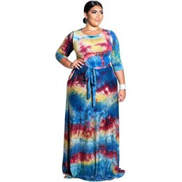 $enCountryForm.capitalKeyWord NZ - 6XL Autumn HOT style European and American fashion DRESS colorful printing and dyeing round collar LARGE SIZE Dress OVERSIZED Clothing