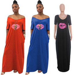 Ladies straight dresses sLeeves online shopping - Women Maxi Dress Summer V Neck Lips Print Ladies Casual Long Dresses Fashion Short Sleeve Off Shoulder Beach African Sundress Hotsell C43007