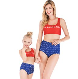 $enCountryForm.capitalKeyWord NZ - 2019 Summer Girls swimsuits children bikini swimwear kids letter printed split sports swimming mother and daughter matching beachwear F4832