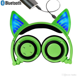 Wireless Headphones Mic Blue Australia - Bluetooth MIC Chargeable Wireless Hearsets Cat Ear Foldable Adjustable Flash Blue Light Headphones for iPhone Android Mobile Phone computer