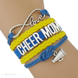 cheerleader charms wholesale Australia - High Quality Infinity Love Cheerleader Megaphone Charm Cheering Squad Cheer Team Cheer Mom Bracelets for Women