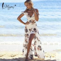 Female Dresses Australia - Miyouj Ruffles Maxi Dress Women Floral Print Off Shoulder Beach Dresses Chiffon V Neck Split Beachwear Female Swim Suit Vestidos Y19060301