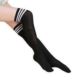 3190eb240 Stockings Women Thigh High UK - Women Striped Thigh High Stocking Elastic  Ultra Thin Skinny Transparent