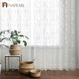 curtains styles designs UK - NAPEARL European style jacquard design sheer panel tulle curtain for living room balcony organza fabrics European style