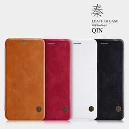 Wholesale original nillkin case resale online - Vintage Leather Flip Case for OnePlus T Original Nillkin Qin Series Window View Wallet Case Oneplus Cover for OnePlus T