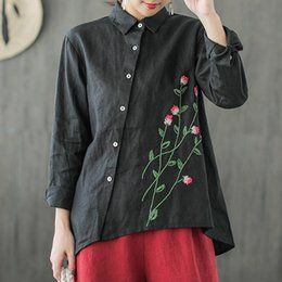 $enCountryForm.capitalKeyWord NZ - Casual Embroidered Linen Blouse 2018 Autumn New Stand collar Long sleeve Tops Elegant Office Lady Loose Irregular Blouses