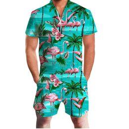 $enCountryForm.capitalKeyWord Australia - Flamingo Vacation Print 3d Rompers Men Jumpsuit Playsuit Harem Cargo Overalls Summer Casual Zipper Beach Men&s Sets