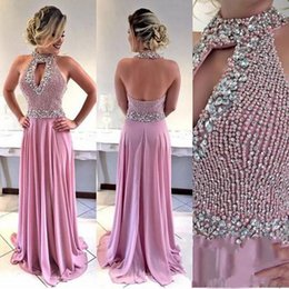 rhinestone chiffon prom dress NZ - Custom Beading Rhinestone A Line Chiffon Long Prom Dresses Halter Keyhole Neck Sexy Backless Pageant Party Gowns Special Occasion