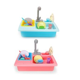 play toys kitchen set gift UK - Plastic Simulation Electric Dishwasher Sink Pretend Play Kitchen Toy Set Children Kids Puzzle Early Education Toys Gifts