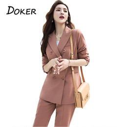 Work Suit For Women Australia - Fashion Elegant Work Business Pants Suits For Women Single Breasted Blazer Jacket And Shorts Two-piece Set Female Office Uniform Q190521