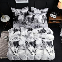 $enCountryForm.capitalKeyWord Australia - Comforter Bedding Set Duvet Cover Set White Bed Cover 3D Tigers Printed Quilts Bedclothes Queen King Size Double Bed Sheets
