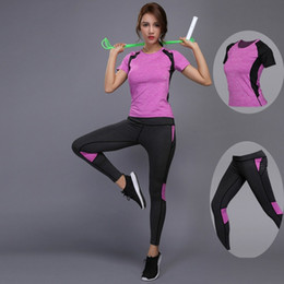 $enCountryForm.capitalKeyWord UK - Women Yoga Set Gym Fitness Clothes Tennis Shirt+Pants Running Tights Jogging Workout Yoga Leggings Sport Suit plus size