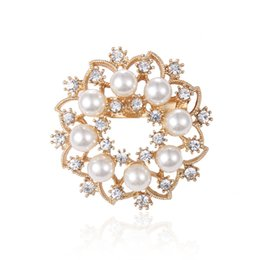 sun brooch Australia - New Fashion Jewelry Women Brooches Lady Sun Pearls Rhinestones Crystal Wedding Bouquet Brooch Flower Pin Jewelry Accessorise