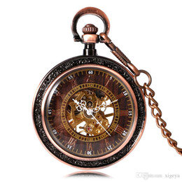 steampunk pocket Canada - Steampunk Archaize Red Copper Roman Numerals Analog Carving Mechanical Hand Wind Open Face Pocket Watch with Chain Men Women Best Gift