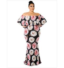 a0fb4abdd3d Women s Plus Size Floral Ruffled Slim Dress Off Shoulder Dress Slim Long  Bag Hip Skirt Nightclub Sexy Wedding 1X-5X