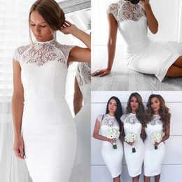 Formal Lace Knee High Dresses Australia - Women Ladies Summer Fashion Sexy Formal Party Dress Lace Floral Solid White Skinny High Waist Knee-Length Dress Size S-XL