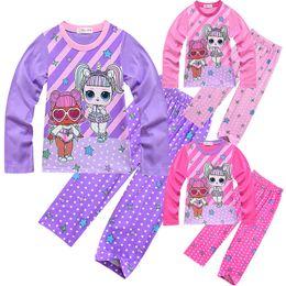 American Girl Dolls Dress Australia - Suprise Girl Kids Clothes Girls Suit 2 PCS 2019 Cartoon Dolls Big Eyes Long Sleeve Long Pants Casual Suit Home Dress Q146