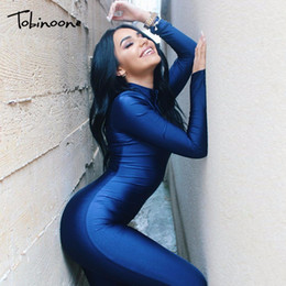Women Sport Jumpsuits Australia - Tobinoone Sexy Bodycon Jumpsuit Color Blue Checkerboard Rompers Motor Sport Spandex Overalls Women One Piece Outfit Q190516