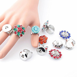 $enCountryForm.capitalKeyWord Australia - Hot Sale 014 Fashion Crystal Metal Adjustable Ring Ginger Fit 18mm Snap Button Rings Interchangeable Jewelry Charm Rings For Women Gift