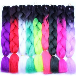 two tone hair braids NZ - Jumbo Braids Synthetic Braiding Hair Two Tone Three Tone Hair 24inch 60cm 100g Per Bag