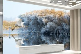 $enCountryForm.capitalKeyWord Australia - Custom Wallpaper 3D Stereoscopic Swan reeds in the water reflection Art Wall Mural Living Room Bedroom Wallpaper