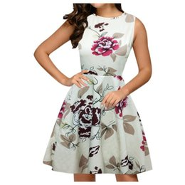 dresses big pockets UK - SAGACE Dress Women 2020 Fashion Floral Round Neck Sleeveless beach dresses and tunics Pocket Zipper Big Swing Dress sundress new