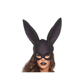 $enCountryForm.capitalKeyWord UK - Rabbit Ears Half Face Mask Cosplay Vintage Halloween Costume Glitter Long Rabbit Ears Eye Mask Party Decoration Props