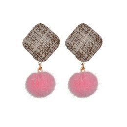 Wholesale Korean Stud Earrings for Women Square boucle d oreille Geometric Earings Fashion Jewelry Colorful Ball Long Earring