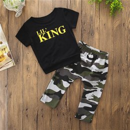 Cute Camouflage Clothing Canada - 2PCS Baby Boys Sets Toddler Kids Baby Boys Short Sleeve Letter T-shirt Tops+Camouflage Pants Set Baby Boy Clothes M8Y18