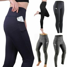 dark grey yoga pants Canada - US STOCK,Women Yoga Workout Legging With Pocket Fitness Slim Skinny Tights Gym Sport Stretch Fit Solid Jogging Pants FY9085