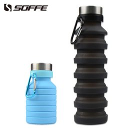 foldable water bottle bpa free Australia - Soffe 550ml Silicone Foldable Collapsible Water Bottle Shaker Protein Bpa Free Portable Sport Water Bottles Outdoor Climbing Mug