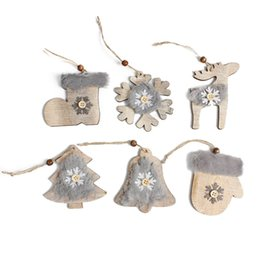 Gift Craft Christmas Ornament Australia - Creative Furry Snowflake Wooden Christmas Hanging Ornaments Wood Craft Xmas Kids Gifts Christmas Tree Decor Pendants