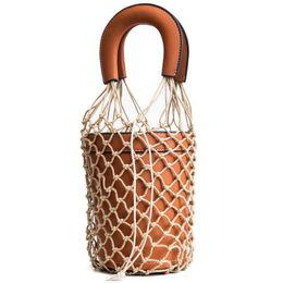 d959b58f94 2019 Women Net Bag Designer Bucket Handbag Hollow Out Leather Tote Summer  Travel Beach Bag Female High Quality Bag Lw-100