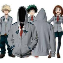 Discount hero suits - 2019 Anime My Hero Academia No Boku Costume 3D Hoodie School Uniform Suit Jacket Zip Coat Sweatshirt Cosplay Hooded With
