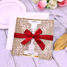 $enCountryForm.capitalKeyWord Australia - Rose Gold Glitter Wedding Invitations with Metallic Bottom and Ribbon Printable Laser Cut Invitation Card for Engagement Quinceanera Invites