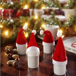 Wine Christmas Ornament Australia - 10Pcs Pack Merry Christmas Mini Decoration Wine Bottle Cover Party Decor Red Cute Small Scarf Hat For New Year Party Supplies