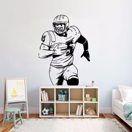 sports activities for kids Canada - American Football Wall Vinyl Sticker Ball Sport Activity Wall Decal Kids Room Decor Removable Football Player Wall Mural