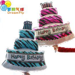 Balloon Birthday cakes online shopping - Birthday cake Balloon inch Aluminium Coating Balloons Helium Ballon Birthday Decoration Wedding Air Balloon Party Supplies