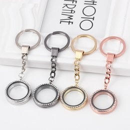 $enCountryForm.capitalKeyWord Australia - Round Heart Rhinestone Crystal DIY Pendant Floating Charming Locket charms Keychain Keyring Personality Metal Key Chain Ring Gifts