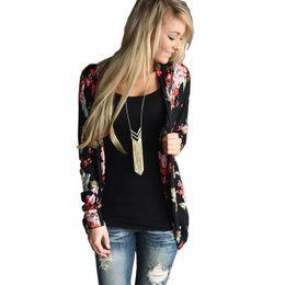 Crystal Stitching UK - 2019 Floral Print Autumn Long Sleeve Women Cardigan Plus Size Loose Casual Open Stitch Vintage Oversize Female Coat Sweater
