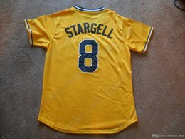 Discount customize baseball - 100% embroidery custom Willie Stargell #8 Pittsburg Yellow Jerseys Stitched Customize any name number MEN Jerseys NCAA J