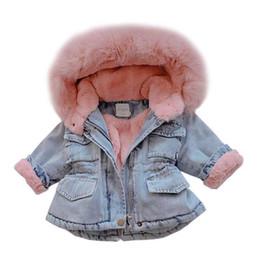 Wholesale girls yellow jacket resale online - 2019 Winter Baby Girl Denim Jacket Plus Velvet Real Faux Fur Fleece Warm Toddler Outerwear Coats Kid Infant Parka Windbreaker